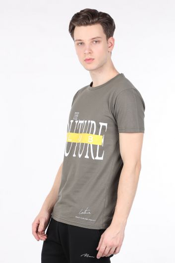 COUTURE - Erkek Haki Couture Baskılı Bisiklet Yaka T-shirt (1)
