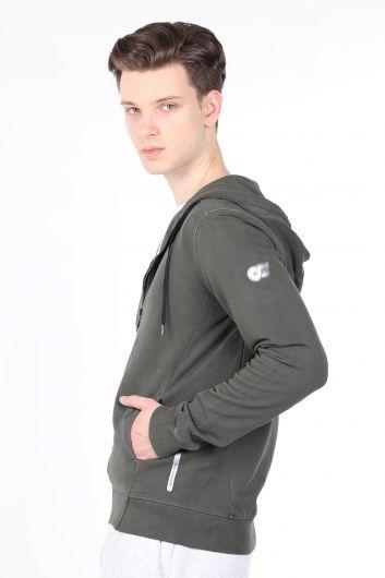 MARKAPIA - Erkek Haki Kapüşonlu Fermuarlı Sweatshirt (1)