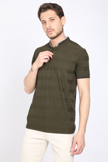 MARKAPIA - Erkek Haki Ribanalı Polo Yaka T-shirt (1)