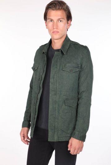 ZEUS - Erkek Hakim Yaka Yeşil Cep Detaylı Düz Ceket (1)