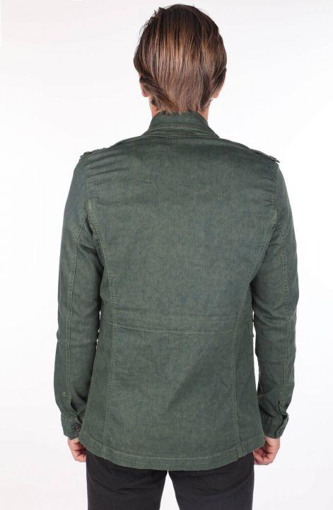 Erkek Hakim Yaka Yeşil Cep Detaylı Düz Ceket