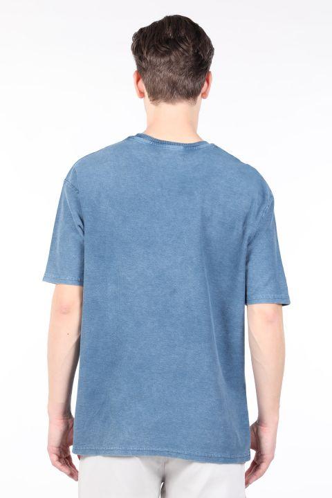 Erkek İndigo Bisiklet Yaka T-shirt