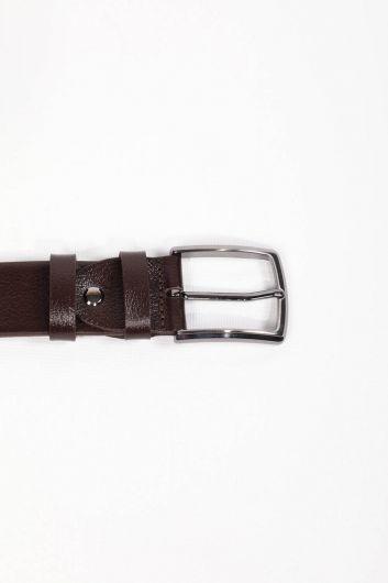 Erkek Kahverengi Düz Hakiki Deri Kemer - Thumbnail