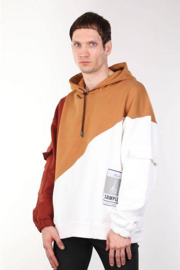 MARKAPIA - Erkek Kahverengi Parçalı Kapüşonlu Oversize Sweatshirt (1)
