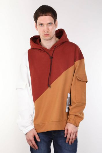 Erkek Kiremit Parçalı Kapüşonlu Oversize Sweatshirt - Thumbnail