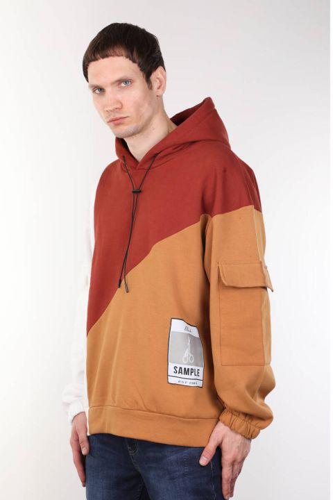 Erkek Kiremit Parçalı Kapüşonlu Oversize Sweatshirt