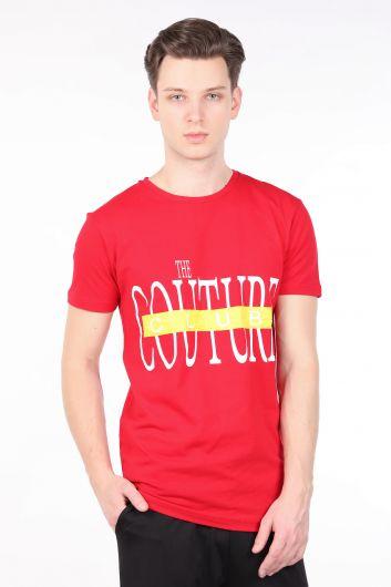 Erkek Kırmızı Couture Baskılı Bisiklet Yaka T-shirt - Thumbnail