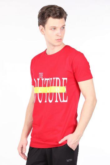 COUTURE - Erkek Kırmızı Couture Baskılı Bisiklet Yaka T-shirt (1)