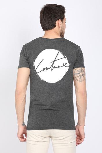 Erkek Koyu Gri Arkası Baskılı Bisiklet Yaka T-shirt - Thumbnail