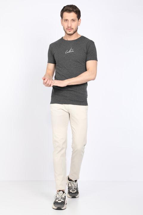 Erkek Koyu Gri Arkası Baskılı Bisiklet Yaka T-shirt