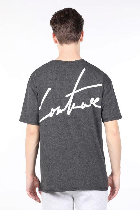 Erkek Koyu Gri Arkası Yazılı Bisiklet Yaka T-shirt