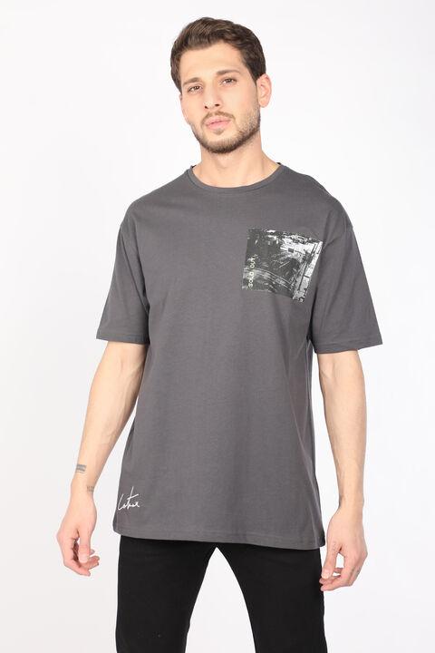 Erkek Koyu Gri Bisiklet Yaka T-shirt