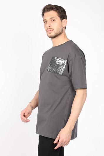 COUTURE - Erkek Koyu Gri Bisiklet Yaka T-shirt (1)