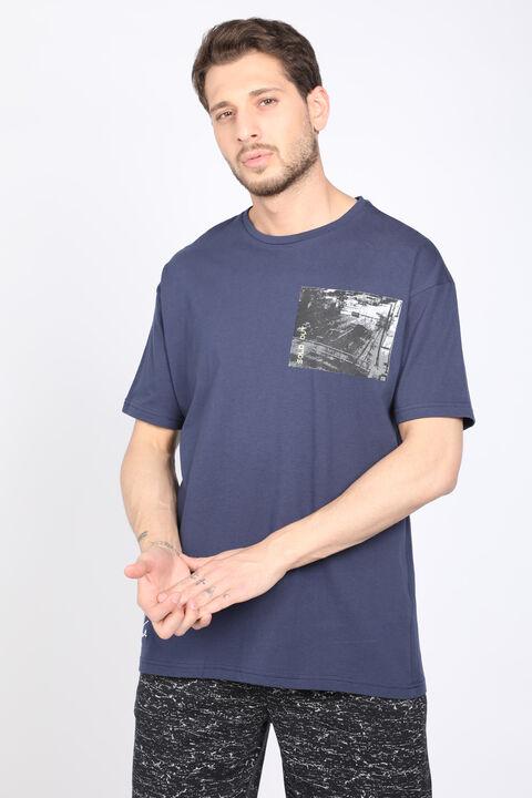 Erkek Koyu Mavi Bisiklet Yaka T-shirt