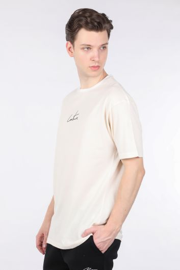 COUTURE - Erkek Krem Arkası Yazılı Bisiklet Yaka T-shirt (1)