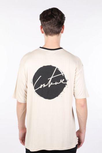 Erkek Krem Yakası Siyah Biyeli Bisiklet Yaka T-shirt - Thumbnail