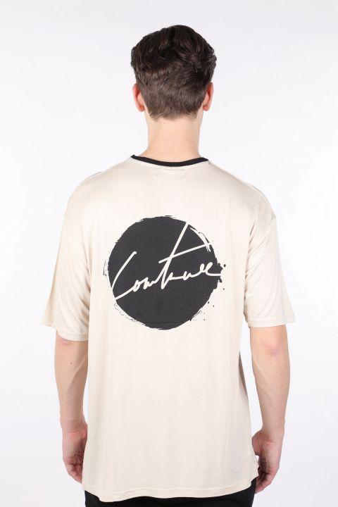 Erkek Krem Yakası Siyah Biyeli Bisiklet Yaka T-shirt