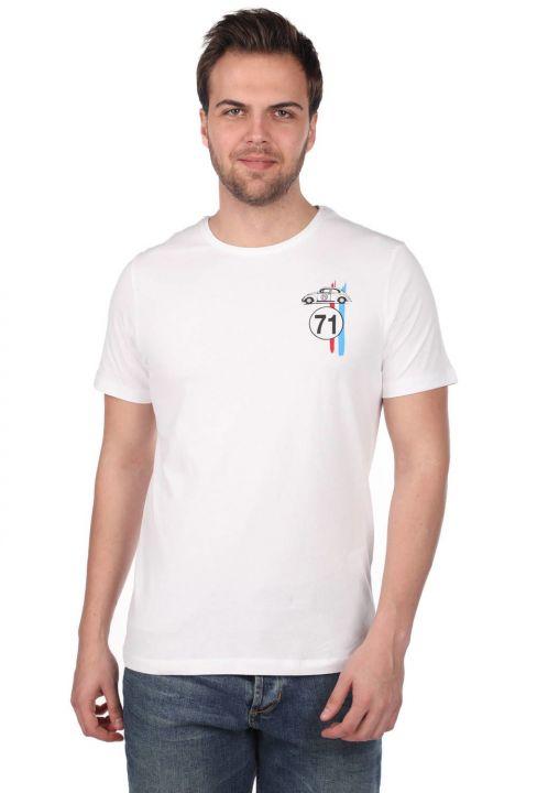 Erkek Küçük Vosvos Baskılı Bisiklet Yaka T-Shirt