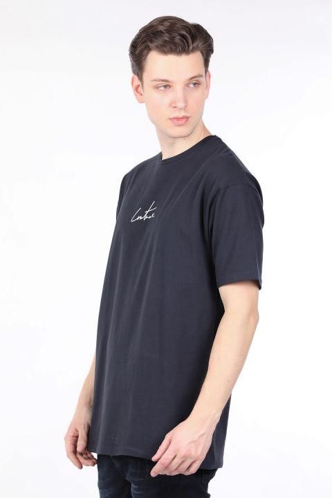 Erkek Lacivert Arkası Yazılı Bisiklet Yaka T-shirt