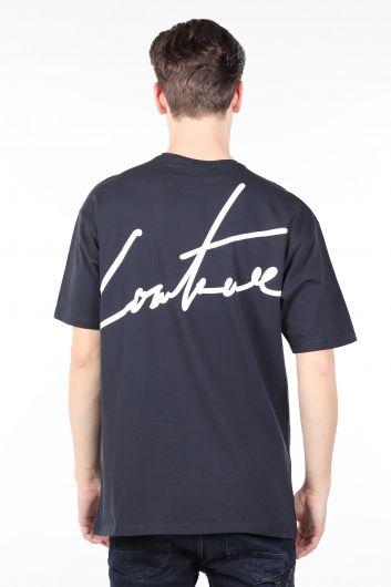 Erkek Lacivert Arkası Yazılı Bisiklet Yaka T-shirt - Thumbnail