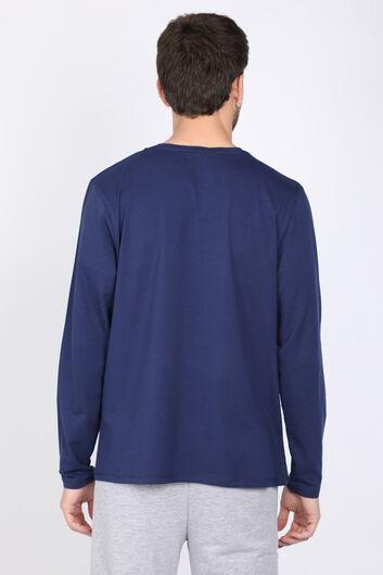 Erkek Lacivert Bisiklet Yaka Uzun Kollu T-shirt - Thumbnail