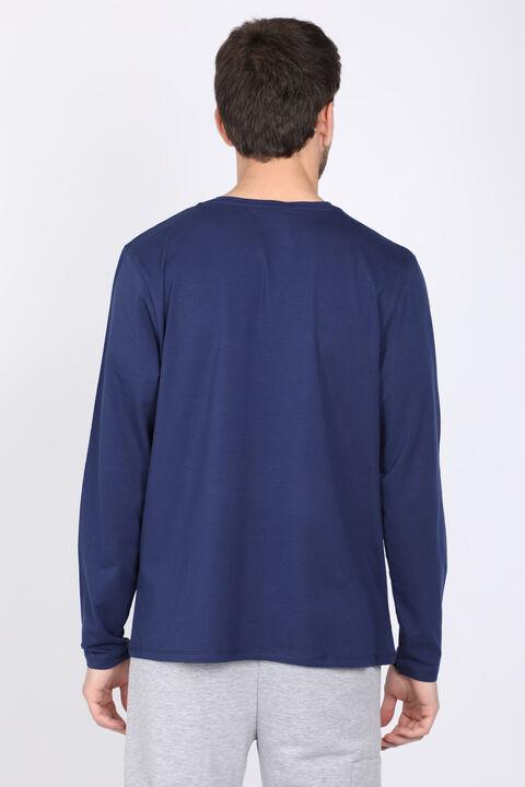 Erkek Lacivert Bisiklet Yaka Uzun Kollu T-shirt