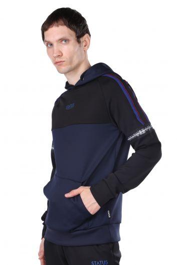 STATUS - Erkek Lacivert Parçalı Kapüşonlu Sweatshirt (1)
