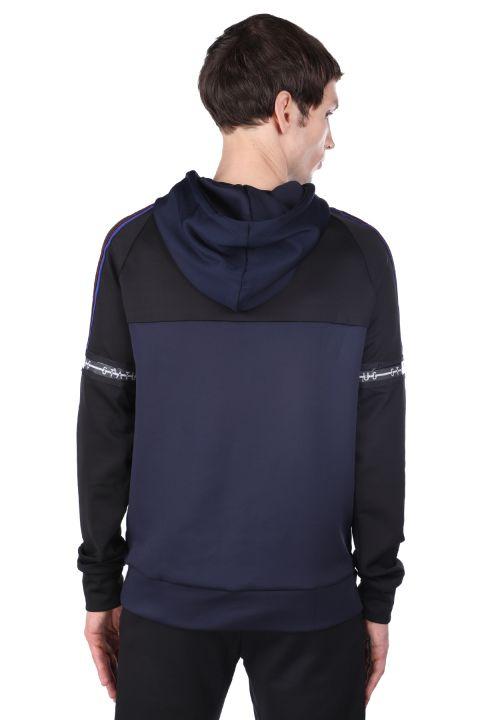 Erkek Lacivert Parçalı Kapüşonlu Sweatshirt
