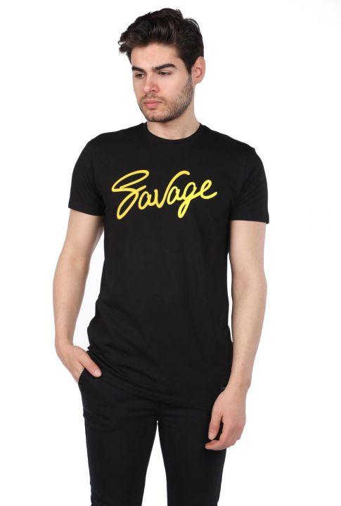 Savage Yazılı Siyah Erkek Bisiklet Yaka T-Shirt