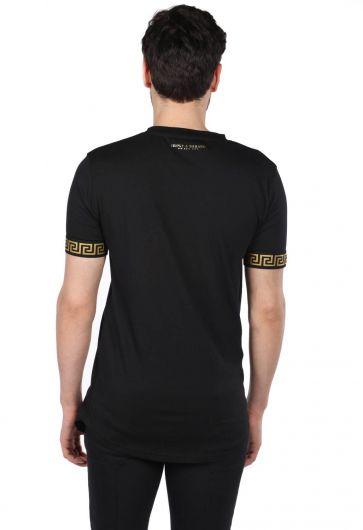 Loyal Kol Detaylı Siyah Erkek Bisiklet Yaka T-Shirt - Thumbnail