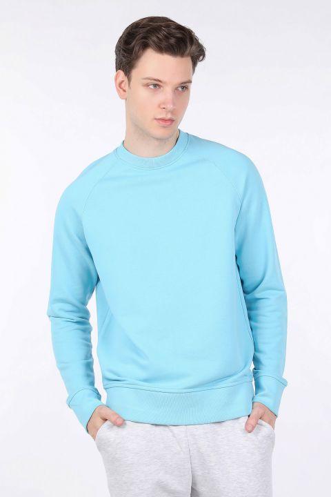 Erkek Mavi Düz Bisiklet Yaka Sweatshirt