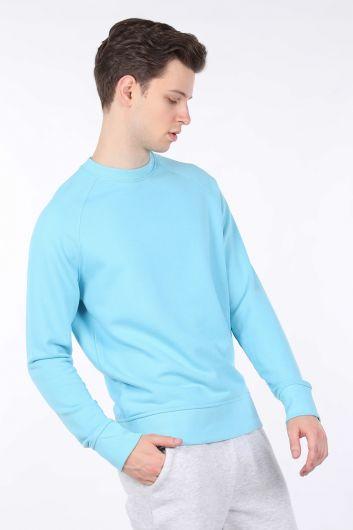 MARKAPIA MAN - Men's Blue Straight Crew Neck Sweatshirt (1)