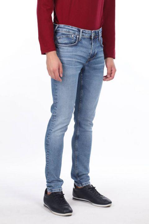 Erkek Mavi Boru Paça Jean Pantolon