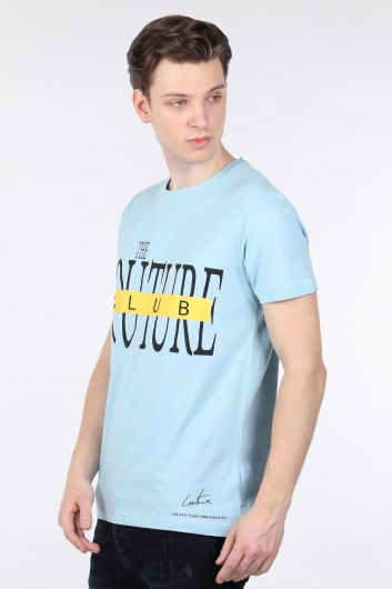 Erkek Mavi Couture Baskılı Bisiklet Yaka T-shirt - Thumbnail