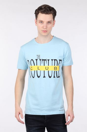 COUTURE - Erkek Mavi Couture Baskılı Bisiklet Yaka T-shirt (1)