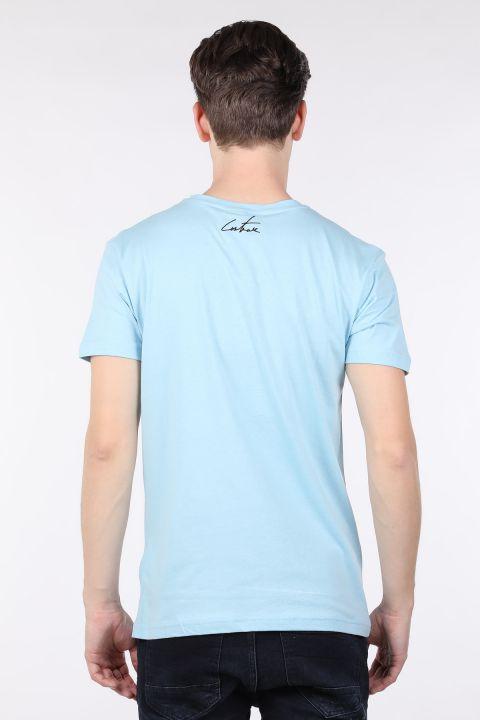 Erkek Mavi Couture Baskılı Bisiklet Yaka T-shirt