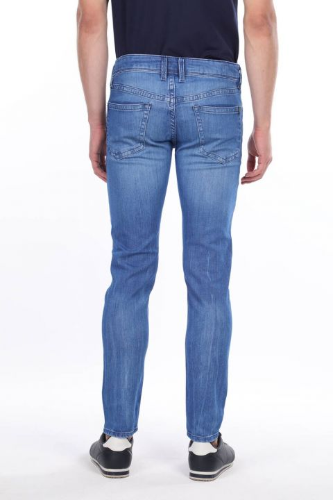 Erkek Mavi Düz Kesim Jean Pantolon