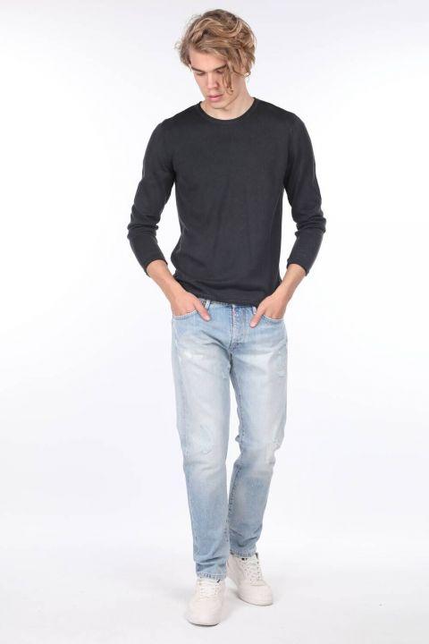 Erkek Mavi Yırtık Detaylı Jean Pantolon