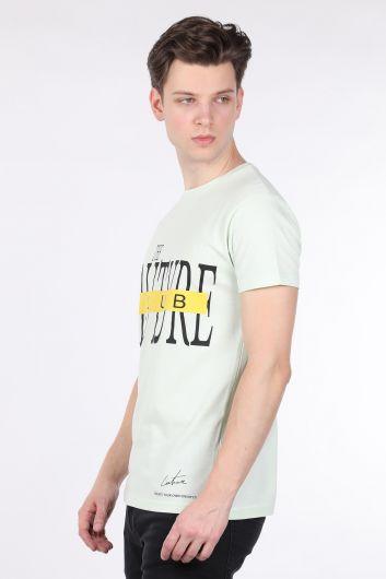 COUTURE - Erkek Mint Yeşili Couture Baskılı Bisiklet Yaka T-shirt (1)