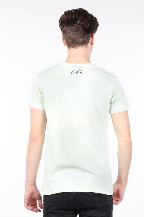 Erkek Mint Yeşili Couture Baskılı Bisiklet Yaka T-shirt