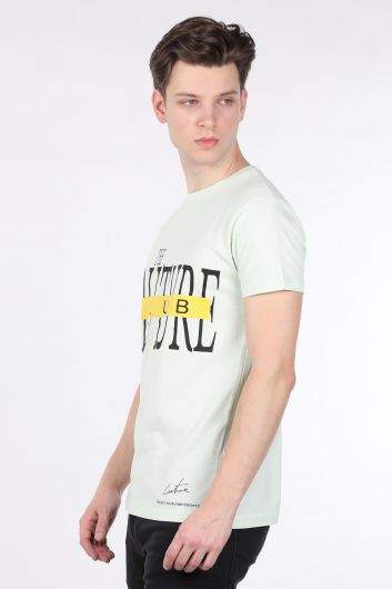 COUTURE - Men's Mint Green Couture Printed Crew Neck T-shirt (1)