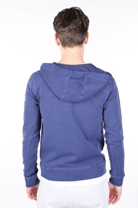 Erkek Mor Kapüşonlu Fermuarlı Sweatshirt