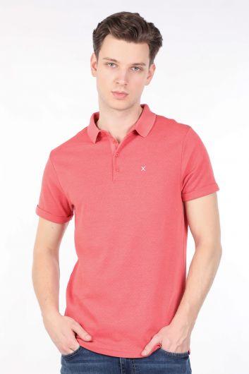 Erkek Nar Çiçeği Polo Yaka T-shirt - Thumbnail