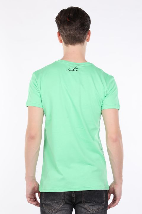 Erkek Neon Yeşil Couture Baskılı Bisiklet Yaka T-shirt