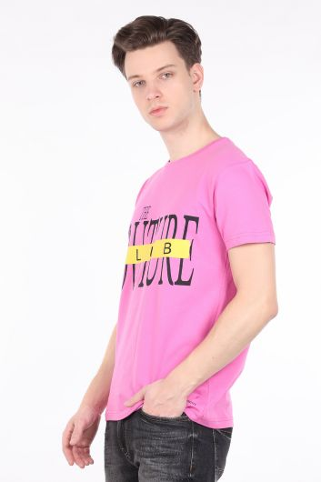 COUTURE - Erkek Pembe Couture Baskılı Bisiklet Yaka T-shirt (1)