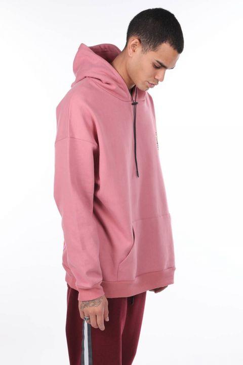 Erkek Pembe Kanguru Cepli Sırtı Baskılı Kapüşonlu Sweatshirt