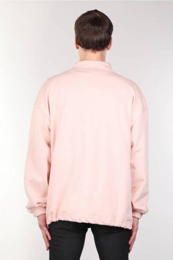 Erkek Pembe Şardonlu Fermuarlı Cepli Sweatshirt - Thumbnail