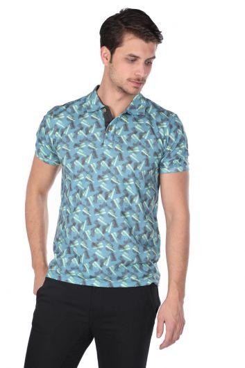 Erkek Mavi Desenli Polo Yaka T-Shirt - Thumbnail