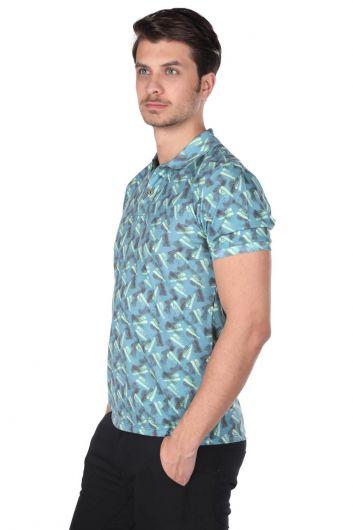 MARKAPIA - Erkek Mavi Desenli Polo Yaka T-Shirt (1)