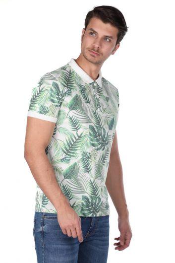 MARKAPIA - Erkek Yeşil Yapraklı Polo Yaka T-Shirt (1)
